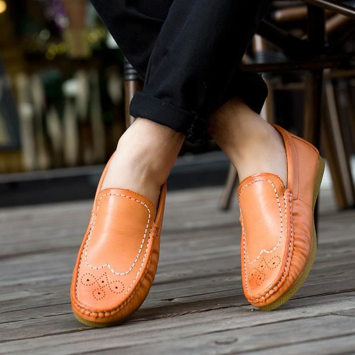 8801-Orange-44 Chaussuresde course paresseuses