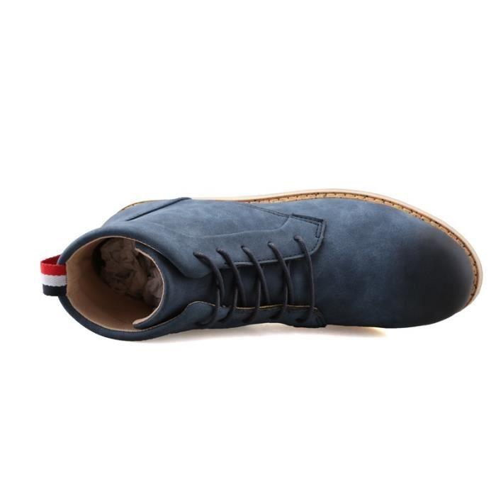 Botte Homme Nouveau design Vintage antidérapante Skater en cuir pour hommes bleu taille39 TAqajF4Je