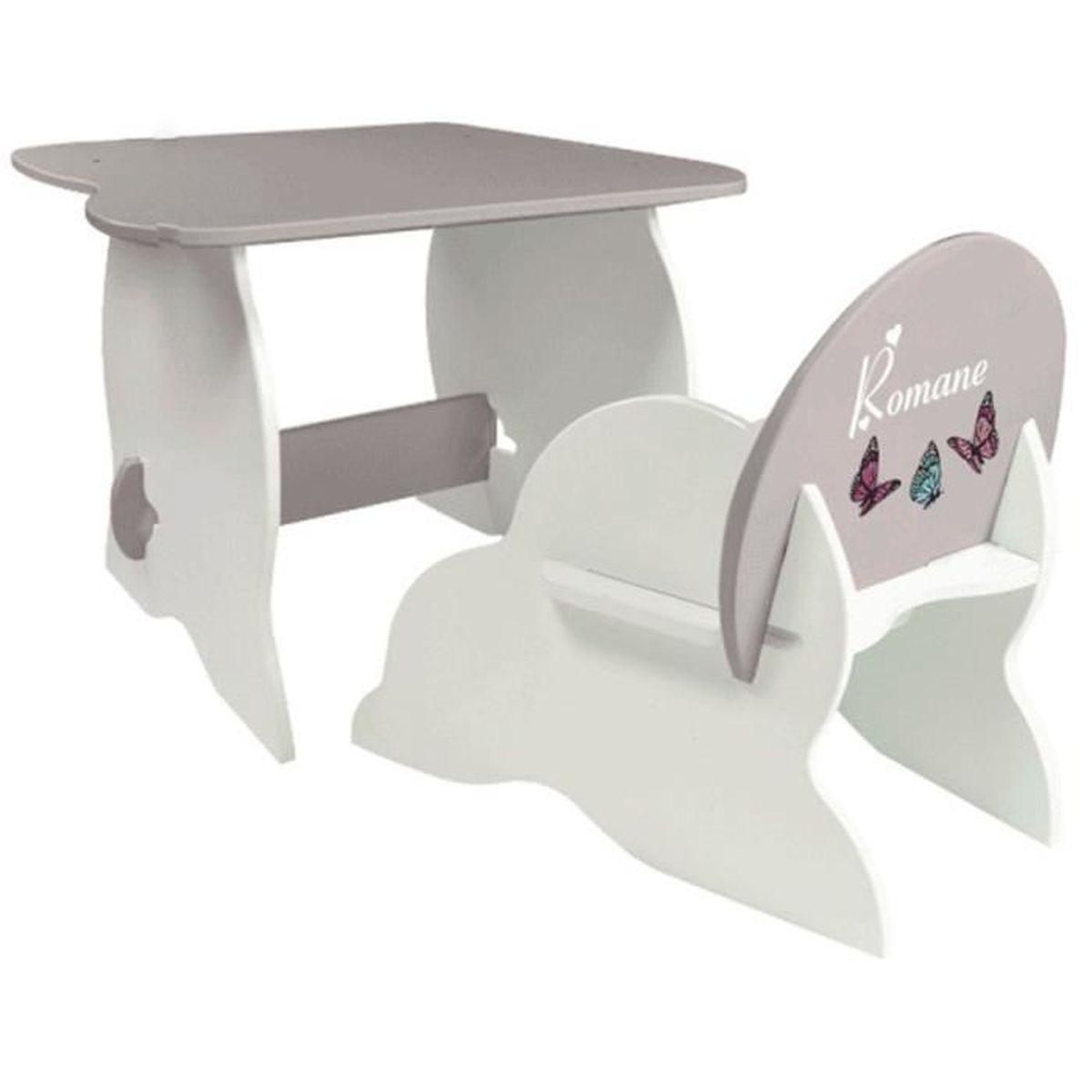 ensemble mon premier fauteuil et bureau en mdf coloris blanc taupe blanc achat vente. Black Bedroom Furniture Sets. Home Design Ideas