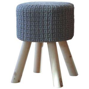 POUF - POIRE OSKAR Pouf rond en tricot - Ø 31 cm - Gris - Scand