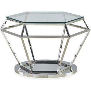 TABLE BASSE Table basse Aston en Verre Transparent et Pied Arg