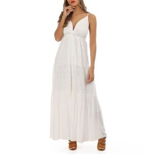 25e69c307af ROBE Robe longue à dentelle blanche style bohème