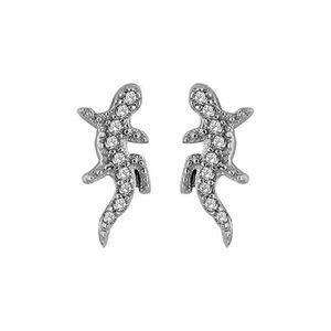 Boucle d'oreille femme salamandre argent