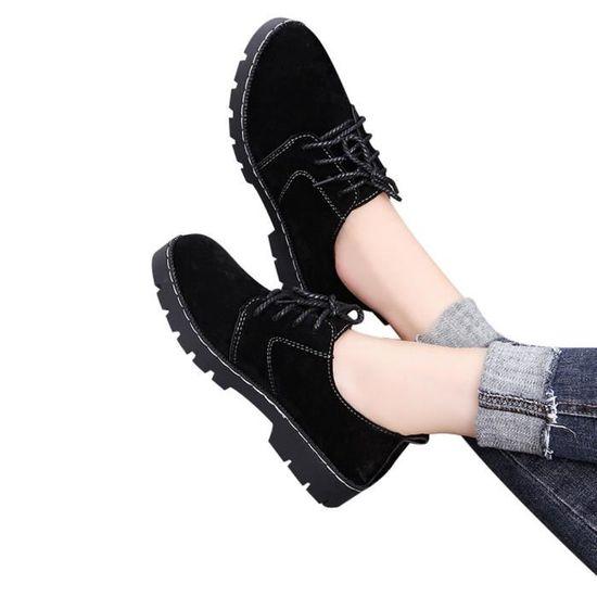 Dentelle Casual plat bout rond de la mode Femmes cheville Suede Shoes Up Bottes courtes Noir Noir - Achat / Vente botte