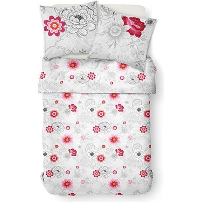 TODAY Parure de couette Mawira Rosa - 1 housse de couette zippée et 2 taies d'oreiller - 100% coton - 240 x 260 cm