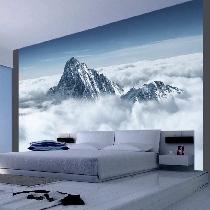 Papier Peint Montagne Entouree De Nuages 350x270 Paysages