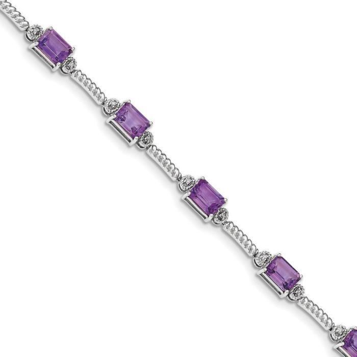 5 mm Argent 925/1000–Améthyste-Diamant-Bracelet de Tennis