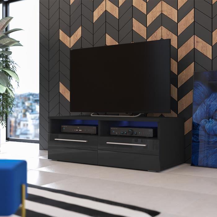 MEUBLE TV Meuble TV / Meuble salon - SIENA - 100 cm - noir m