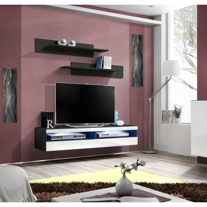 Price Factory Meuble Tv Fly Design Coloris Noir Et Blanc Brillant Meuble Suspendu Moderne Et Tendance Pour Votre Salon