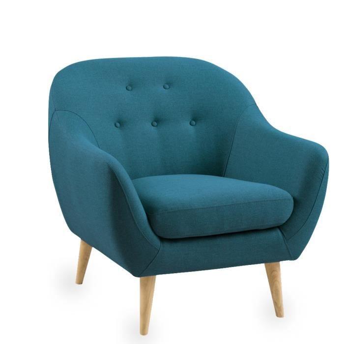 fauteuil scandinave capitonn cirrus couleur bleu p trole achat vente fauteuil bleu cdiscount. Black Bedroom Furniture Sets. Home Design Ideas