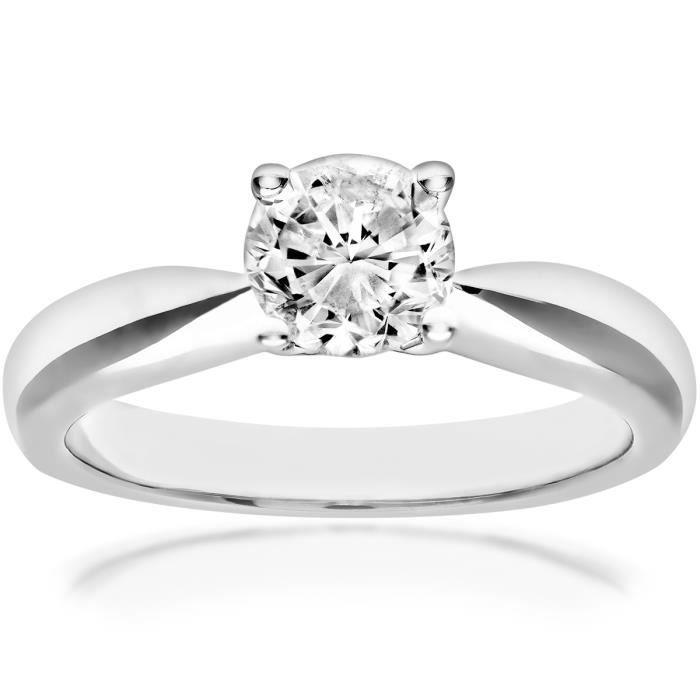 Revoni Bague Solitaire Diamant Or Blanc 750° Femme: Poids du diamant : 0.8 ct - CD-PR04296W-080HSI2-N