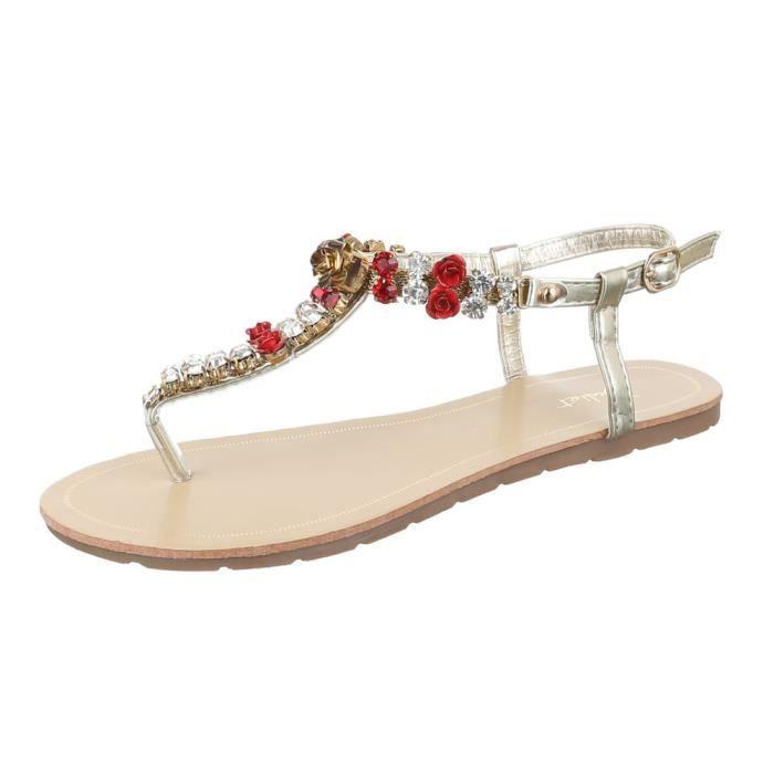 femme sandale chaussure chaussures d'été chaussures de plage l'orteil sépareravec Strass noir OgcGKL