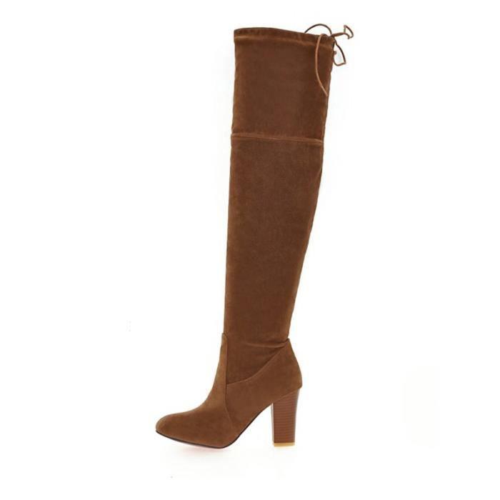 Bottes de femme talon épais bout pointu solide couleur Strappy Top Chaussures Mode 10387358 OP9elhuSsk