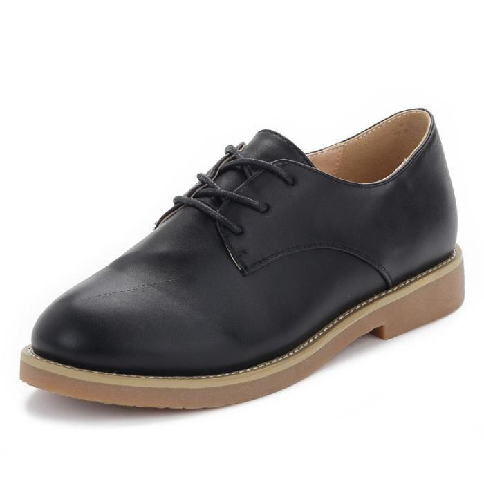 chaussures LKG Confortable ville mode Cuir Femme Chaussure XZ214Noir38 de Mocassion JOZSI OfqCTT