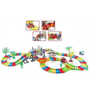 Les enfants Kids Fun voiture flexible variable track set 257 PCS LED Lumière Batterie