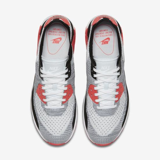 new style b32ae 2e276 Baskets Nike Air Max 90 Ultra 2.0 Flyknit Chaussure pour Femme Blanc Cramoisi  brillant Noir Gris loup - Achat   Vente basket - French Days dès le 26  avril !