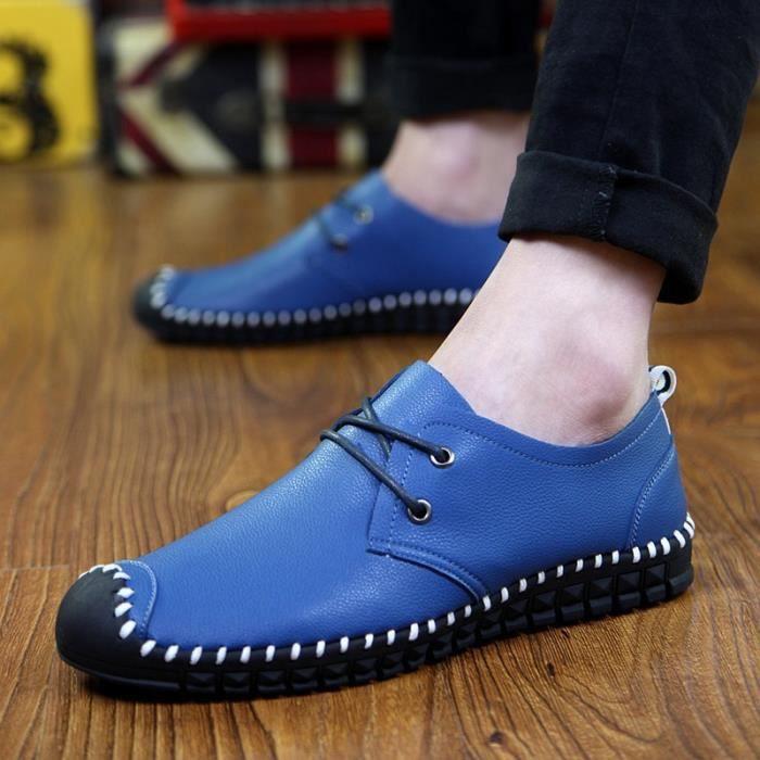 Mode pour hommes Chaussures plates en cuir Souliers simple Mocassins pour Hommes,blanc,44