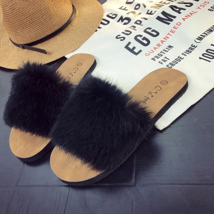 Slipper Fausse Fourrure Noir Fluffy On Sandal Femmes Sliders Ladies Slip Summer En Plat Nowonie wfPqTP