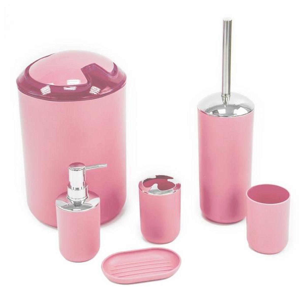 Ensemble de 6 accessoires de luxe pour salle de bains - Rose - Achat ...