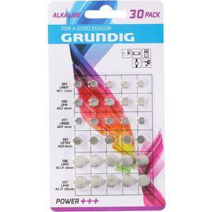 GRUNDIG Pile Bouton AG1 + AG3 + AG4 + AG5 + AG12 + AG13 - 30 Piles Assorties - 1,5 V - Pack de 5 Piles Assorties