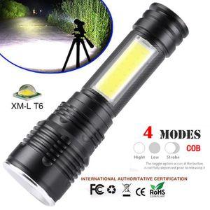De Xm Electrique Lanterne 18650 Led Poche Portable L Torche Poche Cob Lampe lampe huaodnm608 T6 Zoomables 4A35RjL