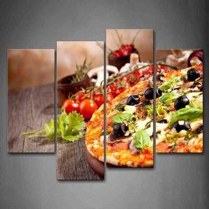 OBJET DÉCORATION MURALE Pizza tomates tasses toile peinture décoration cui