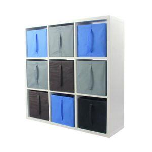 MEUBLE ÉTAGÈRE COMPO Etagère 9 cases + 9 cubes bleu/gris/choco -
