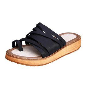 Sandale Femme Casual Cuir Véritable Plage Plate-forme Flip Flops Confortable  Été HEE GRAND 71700a34919
