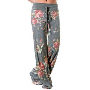 Minetom Femme Pantalons Palazzo Été Casual Elastique Stretch Floral Imprime Taille  Haute Mode SarouelBaggy 996cc3005bc