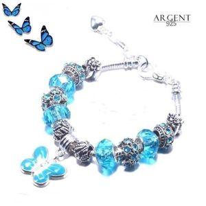 BRACELET - GOURMETTE Bracelet Style Pandora Charm Papillon Argent 925