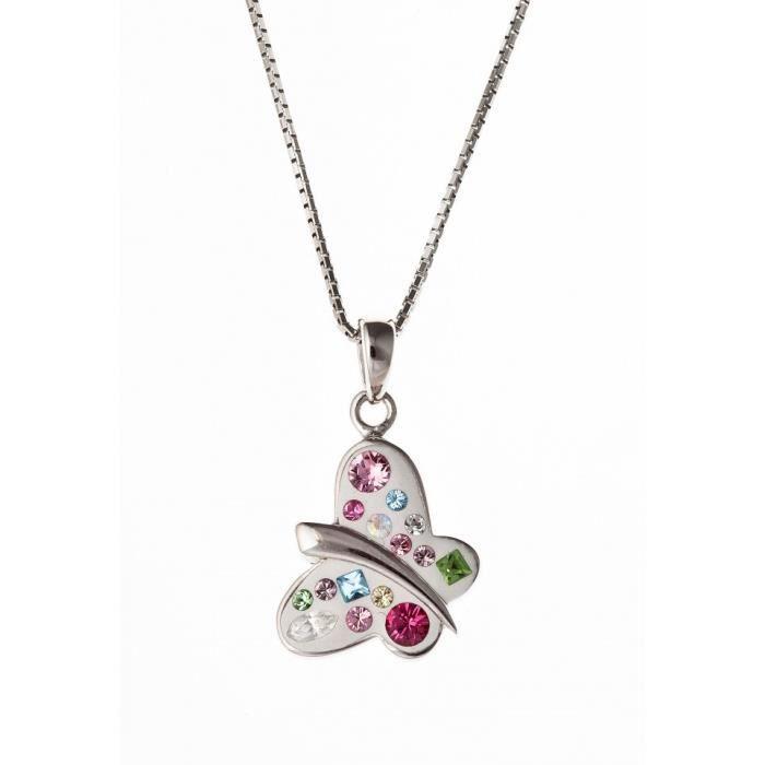 Collier argent rhodié :papillon:avec cristal de swarovski - 40 cm