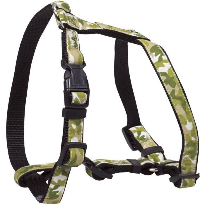 Chapuis Sellerie Harnais Réglable Pour Chien - Sangle Nylon Motif Camouflage Vert Largeur 40 Mm 90-110 Cm Taille Xl