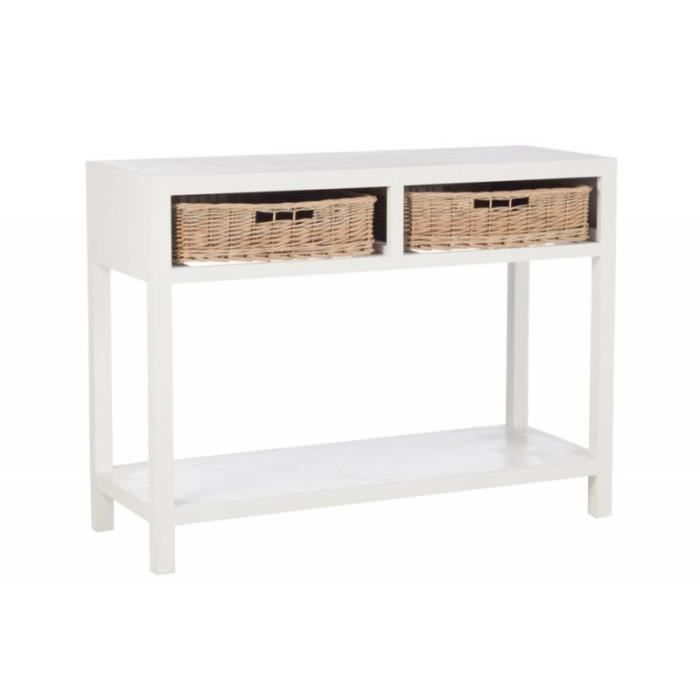 console bois blanc 2 paniers rotin naturel blanc - achat / vente