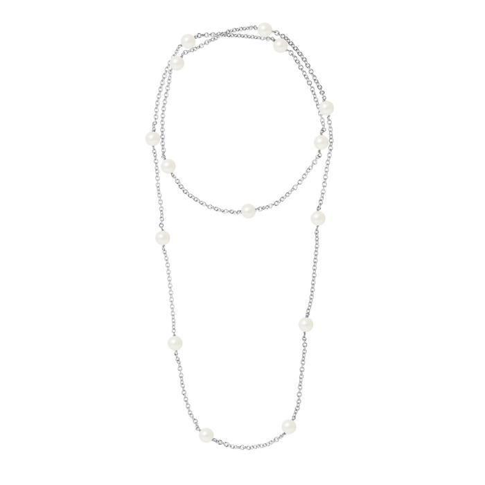 Sautoir - Long Collier Femme en Argent Massif 925-1000 et Perles de culture Blanches - Blue Pearls