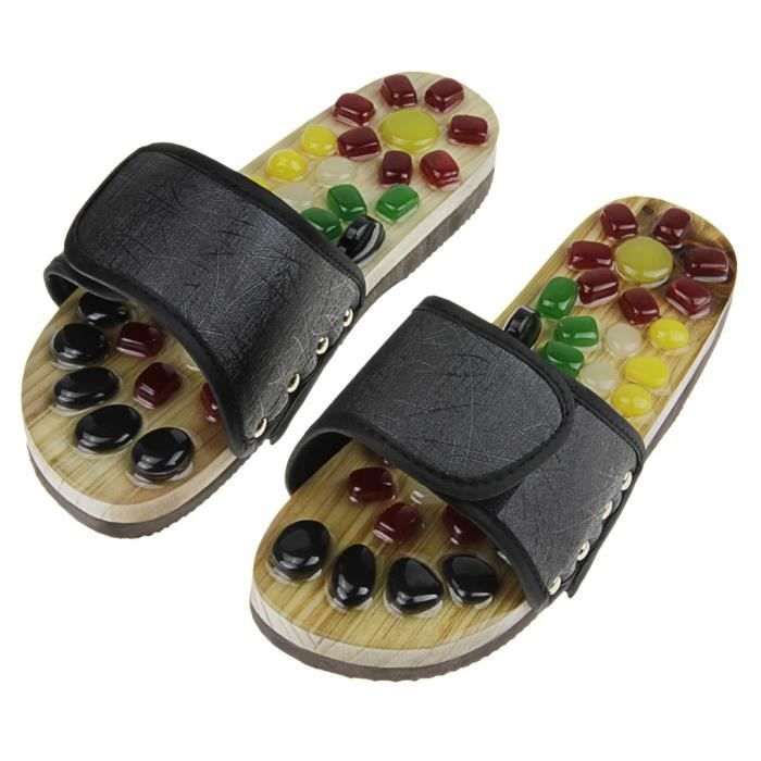 Pantoufles Naturel Galets de Massage Pédicure Chaussures Santé Réflexologie Slippers Favoriser la Circulation Sanguin, Taille 43