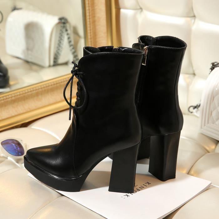 martin boots-Pure Color Haut Talonpais de femmes avec zips lat raux Lacet Bottes gBM3K