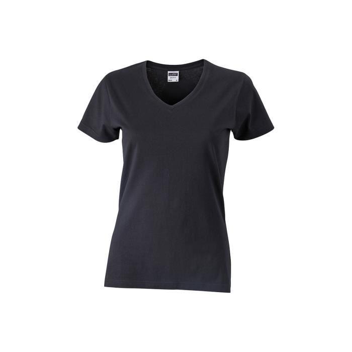 756becaff81 Tee-shirt cintré col V femme - NOIR