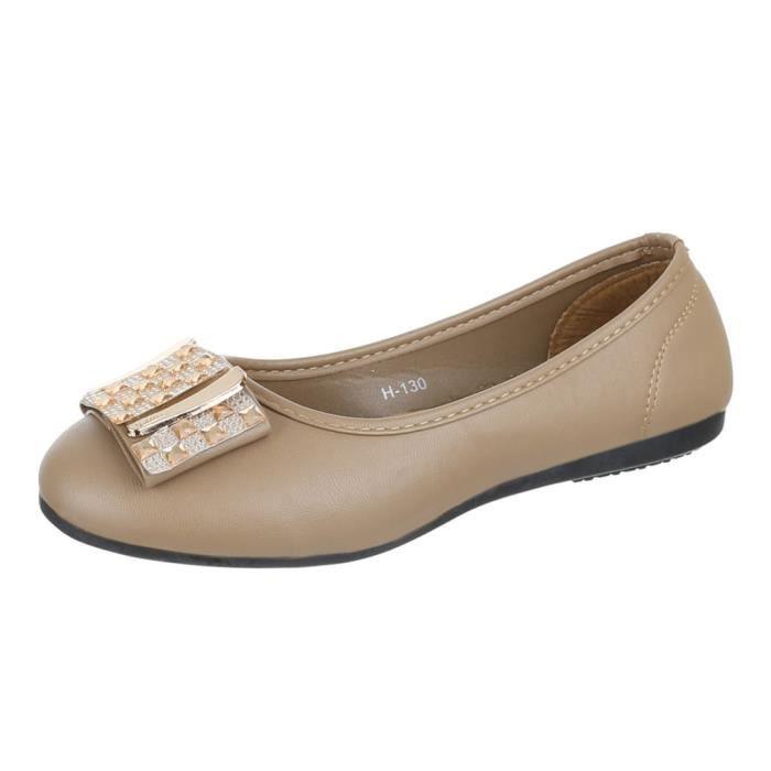 Chaussures femmes Ballerine paillettes occupé Escarpins marron TJukX3zFRE