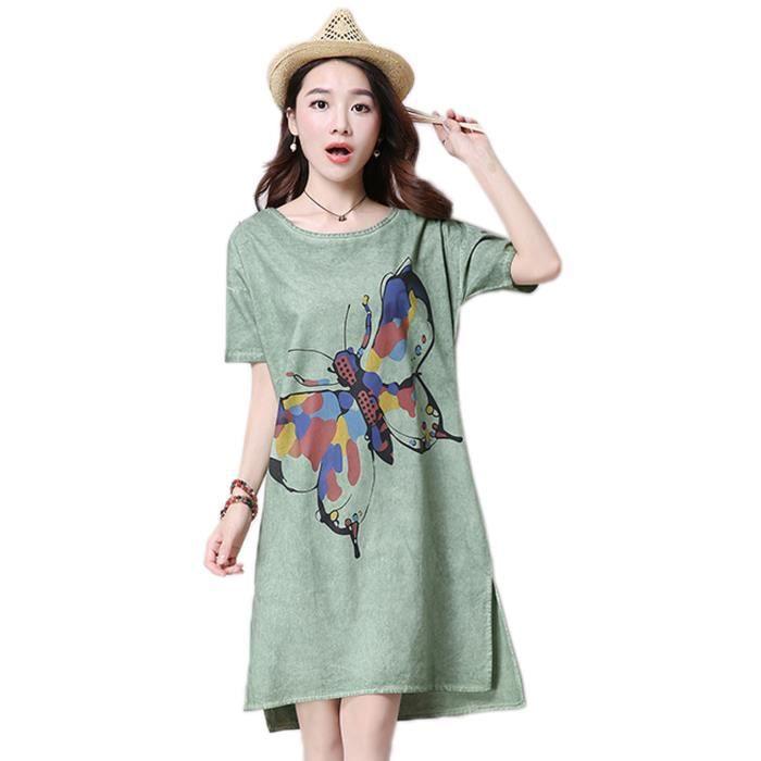 Femme Robe Chemise Coton Lin Imprimée Papillon Loose Vert - Achat ... defc00c07ada
