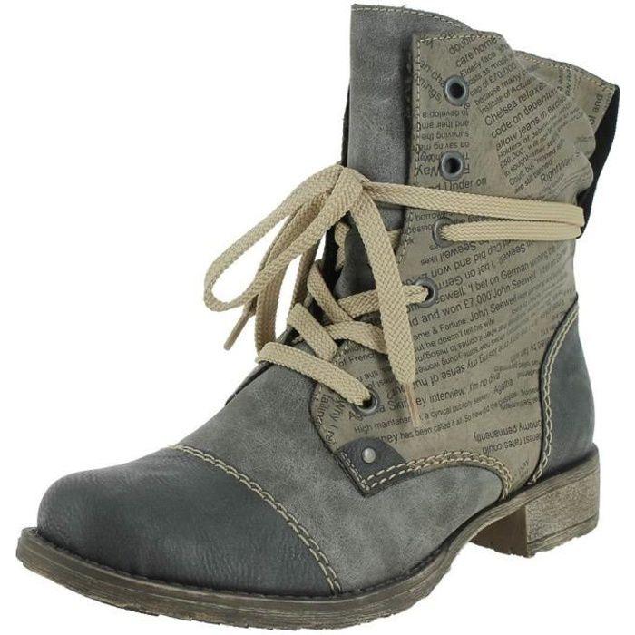 Bottines   low boots 70822 femme rieker 70822 Gris Gris - Achat ... e0fe765df1ad