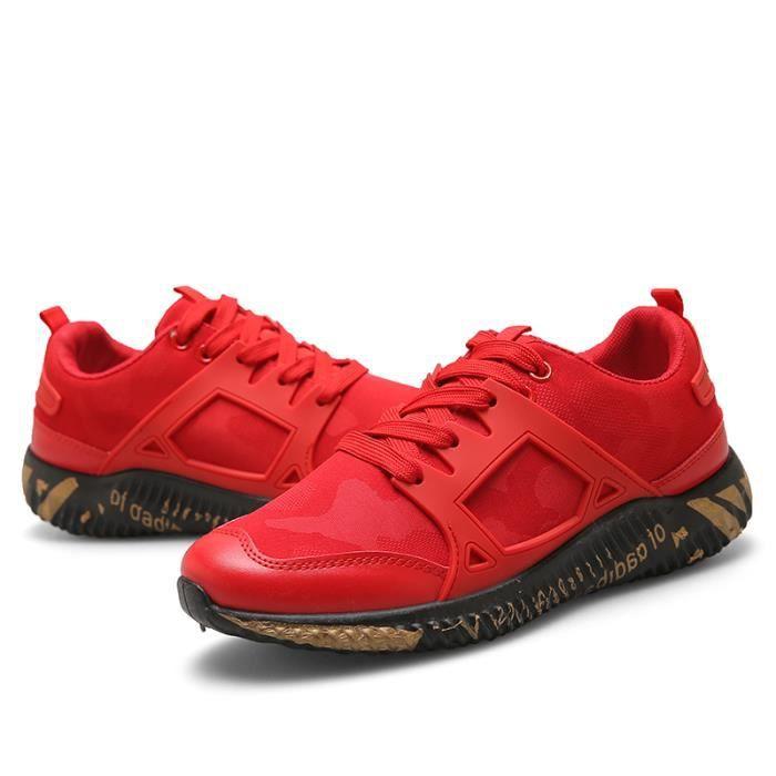 Chaussures de mode pour hommes chaussures de course respirant chaussures - rouge