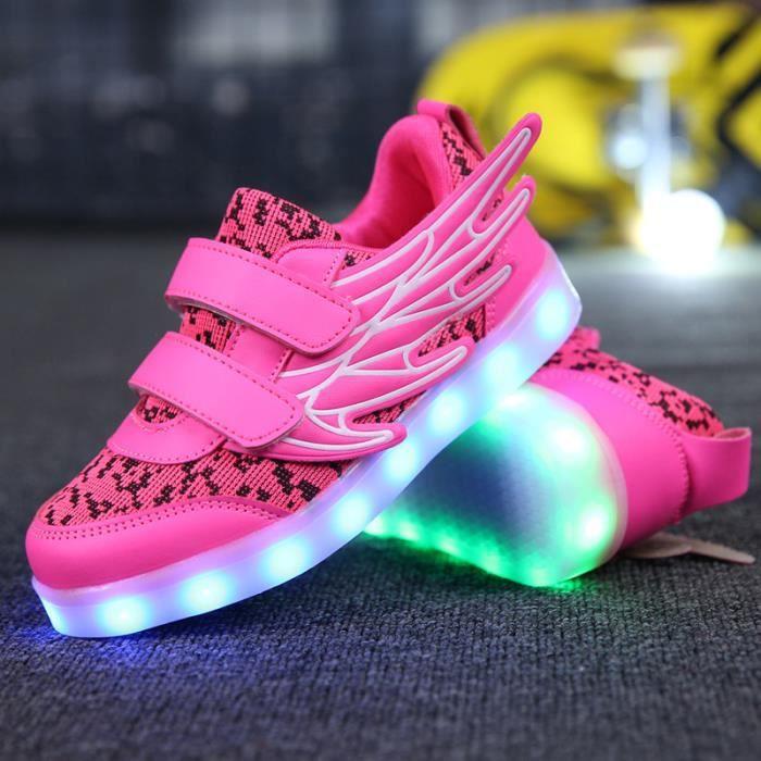 Enfants Baskets chaussures Loisirs Garçons filles LED lumières 7 Couleur USB Chaussures de sport Bébé hk61rGbdK