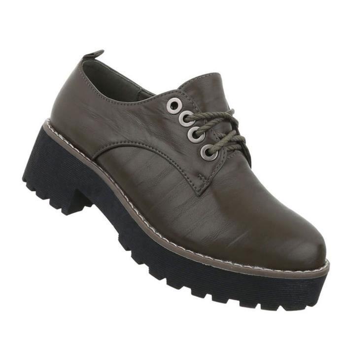 marron Femmes noir Clair bleu kaki 41 Chaussures Flâneurs marron Kaki Foncé Foncé Gris Laçage Foncé qwn0dgC