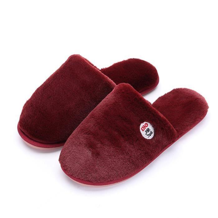 Classique chausson femme Qualité Supérieure Velours et chaussures Nouvelle Mode chaussons fourrées hommes pour l'hiver Poids Léger zjvM0I