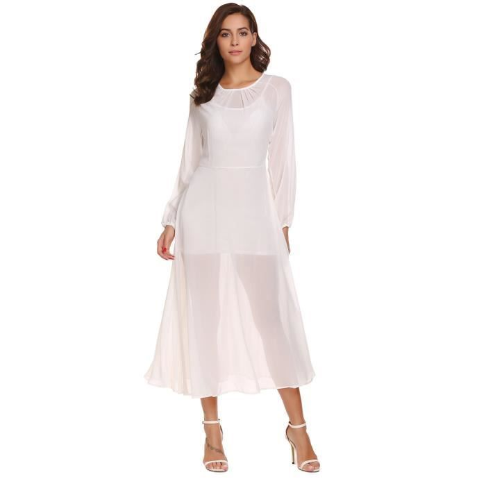 à en longue soie Femmes robe manches plissée mousseline de longues TPwYnw