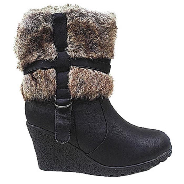 Fashionfolie888 - Femme Bottines talon compensées Fourré Fourrure botte fur Cheville Court SM58-1 NOIR