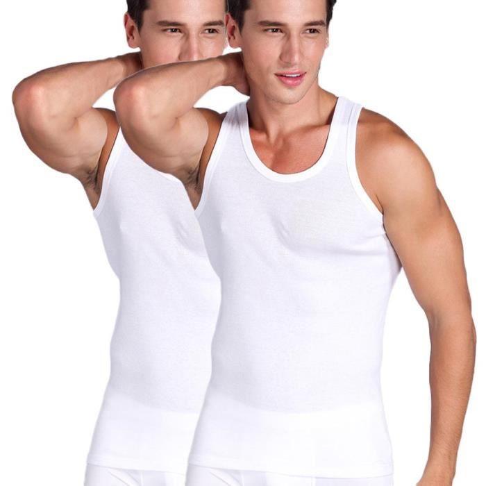 18922804b442d Débardeur Homme Lot de 2 T-Shirt Sans Manche Stretch Coton Couleur Unie T- shirt Sport Col Rond
