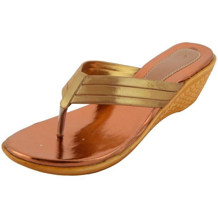 Sandales compensées synthétiques pour femmes BAM7D Taille-38 Marron ... 84b1575a7f22