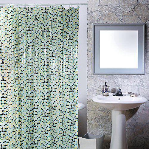 Msv 140274 Rideau De Douche Pvc Mosaique Bleu 180 X 200 X 0 1 Cm