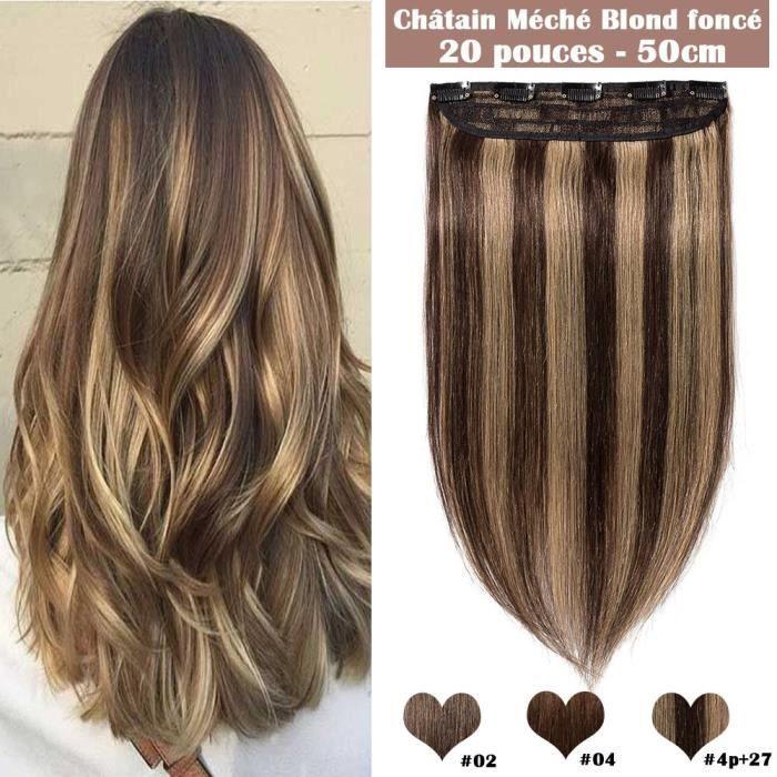 Complètement et à l'extrême 1 pcs 5 clips Extensions Cheveux Humains Naturels - #4+27 Châtain &BC_32